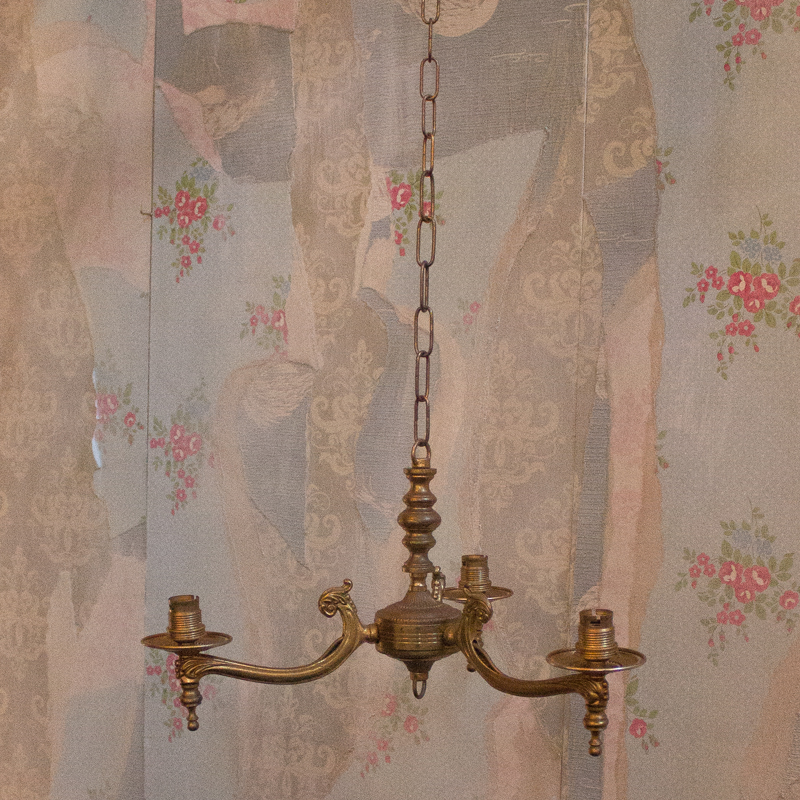 Small Brass 3 Arm Candle Chandelier 2
