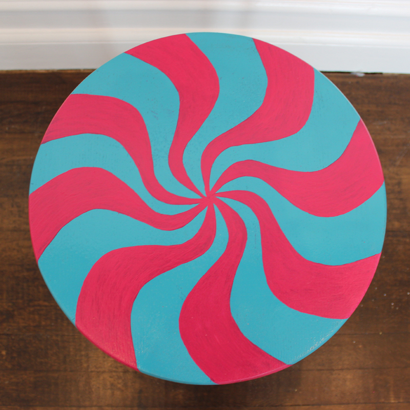 Turquoise and Pink Round Sweet Side Table 3