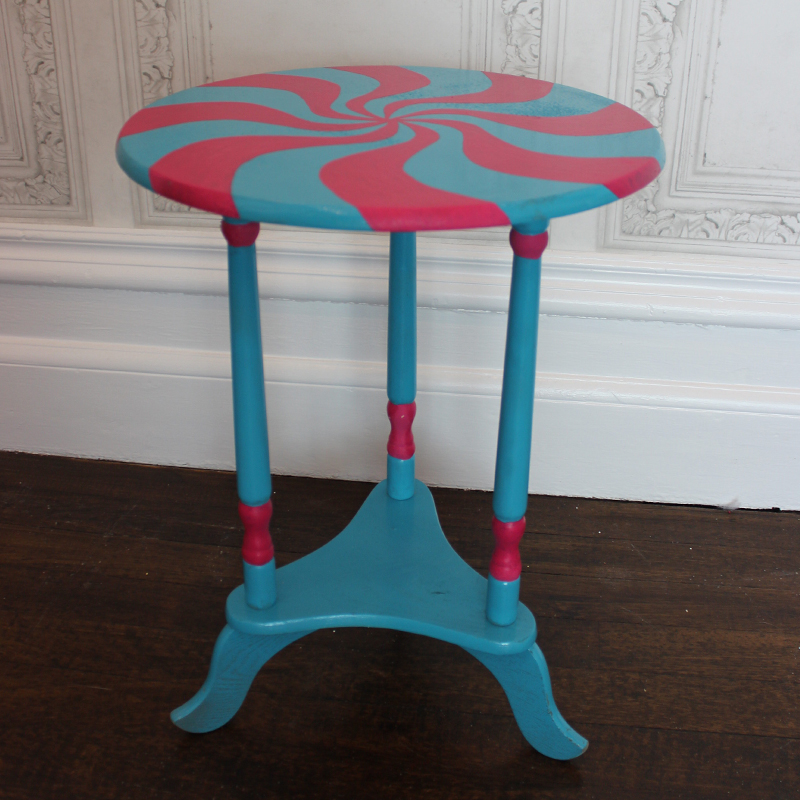 Turquoise and Pink Round Sweet Side Table 2