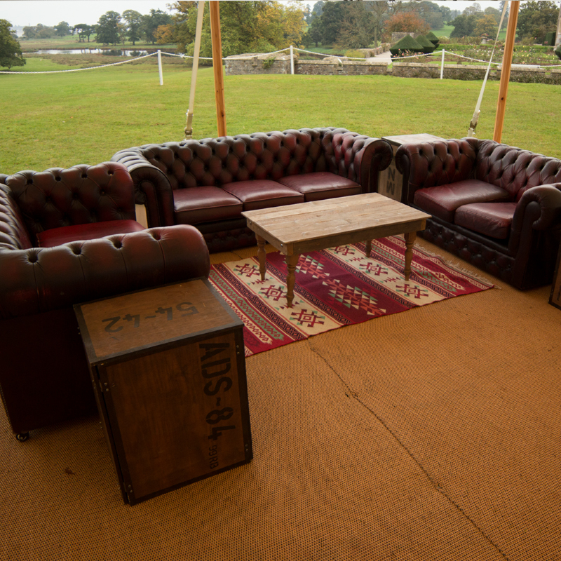 Oxblood Leather Chesterfield Two Seater Sofa - Aged 2