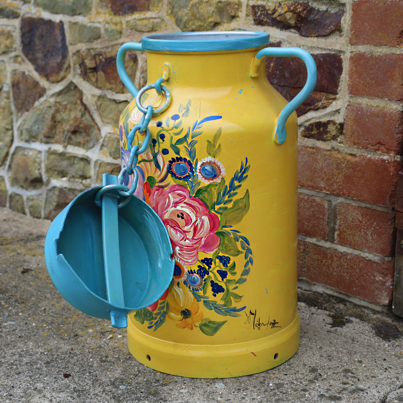 Yellow and Blue Flower Milk Churn 2