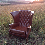 Brown Leather Chesterfield Wingback