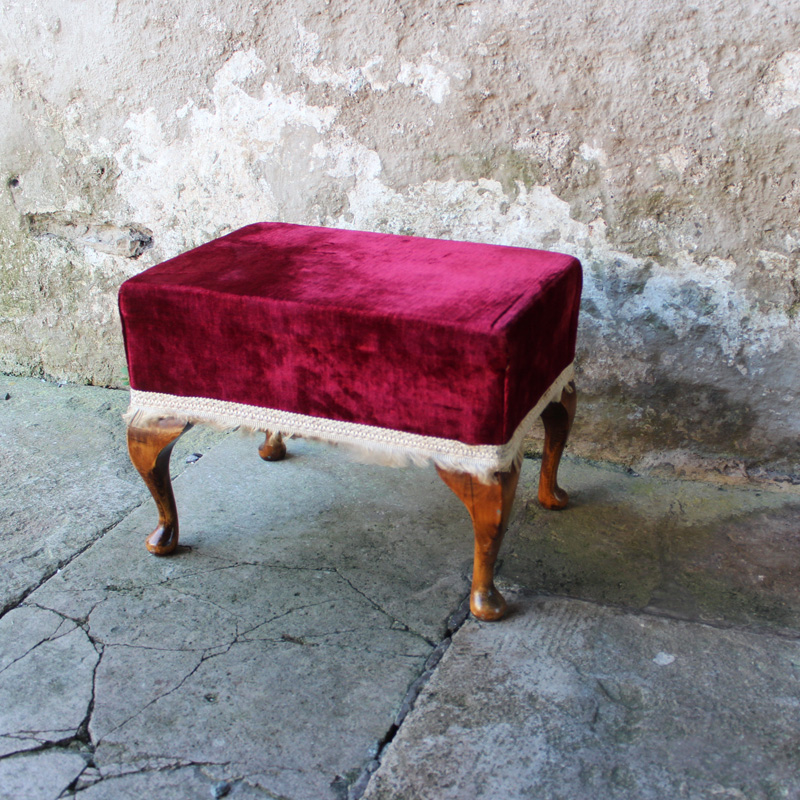 Red Velvet Foot Stool