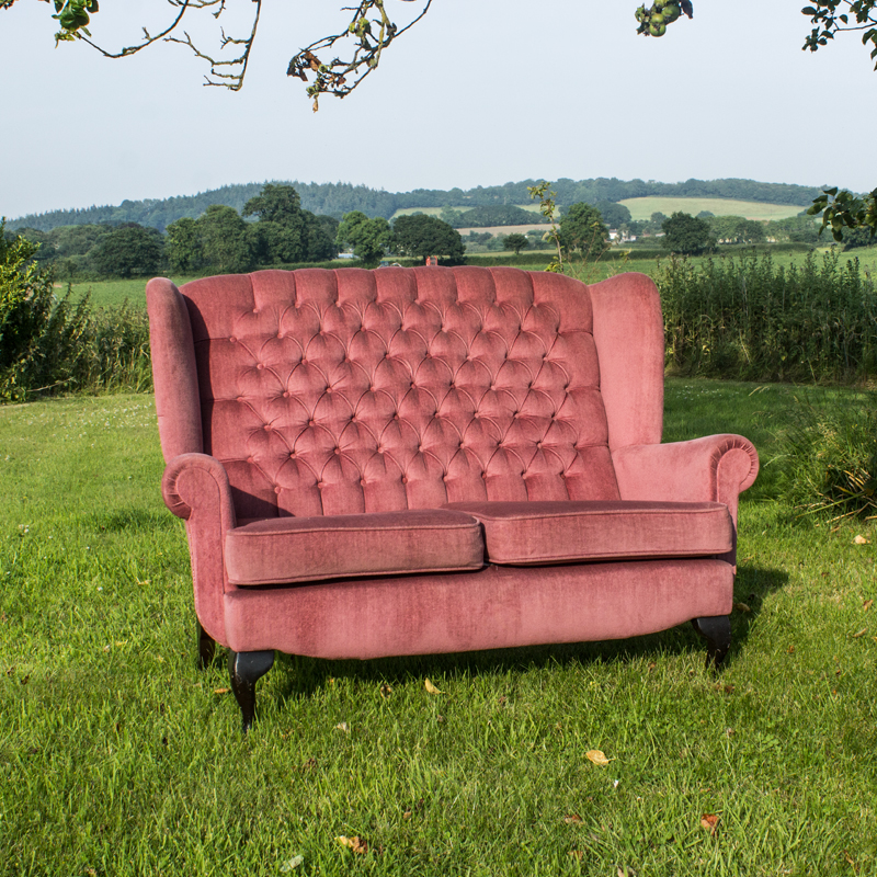 Pink Two Seater Wingback Sofa 3