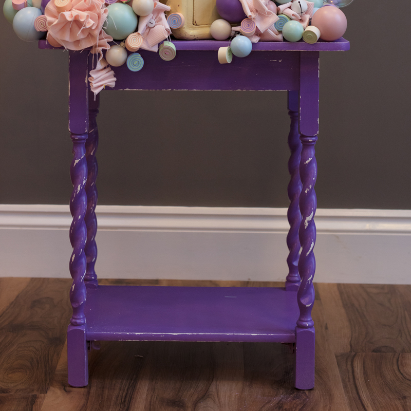 Purple Shabby Spindle Leg Table 2