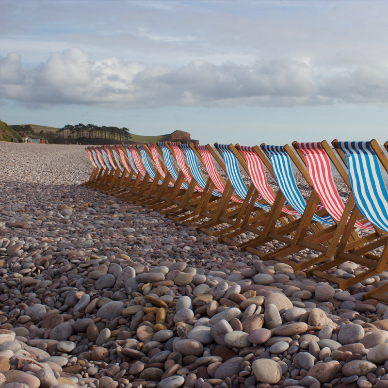 Traditional Blue Striped Deckchair 2