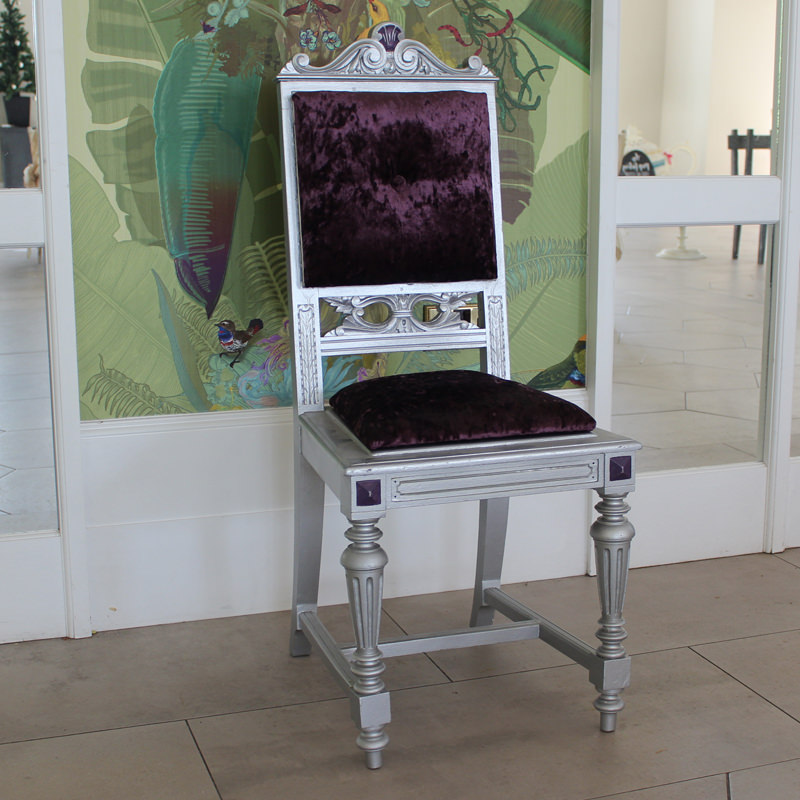 Silver and Purple Grand Chair