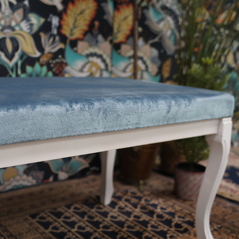 Powder Blue and White Small Ottoman  2