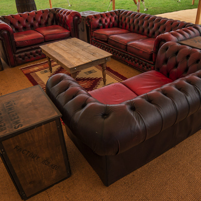 Oxblood Leather Chesterfield Two Seater Sofa - Aged 4