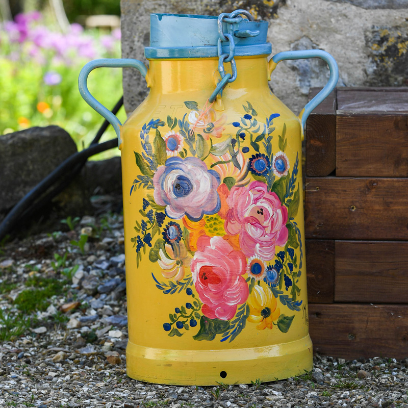 Yellow and Blue Flower Milk Churn 3