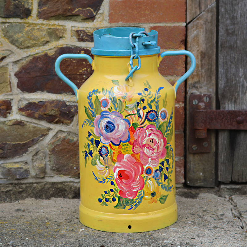 Yellow and Blue Flower Milk Churn